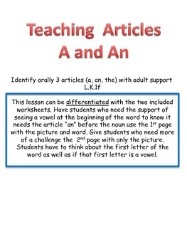 Teaching Articles: A and An (differentiated)
