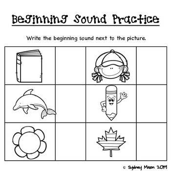 Teaching Beginning Sounds with Pictures, ELL Friendly