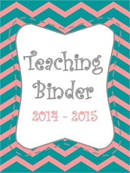 Teaching Binder 2014 - 2015 (Turquoise & Coral Chevron Design)