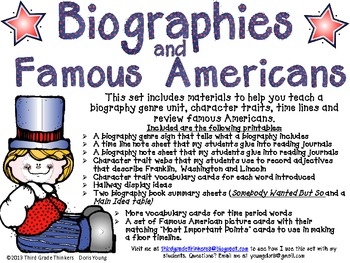 Teaching Biographies, Famous Americans and Character Traits