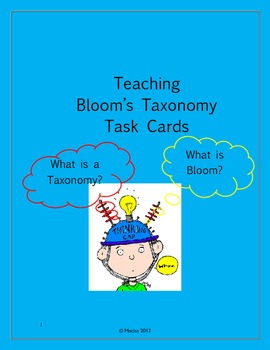 Teaching Bloom's Taxonomy with Task Cards