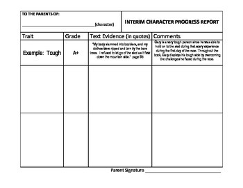 Teaching Character Traits - Character Report Card