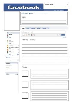 Teaching Character Traits through Facebook - Student Worksheet