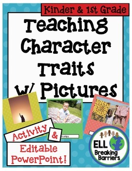 Teaching Character Traits with Pictures, Kindergarten and 1st Grade word lists