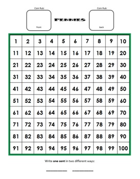 Teaching Coin Money Value with Hundreds Charts- Set of Interactive Worksheets