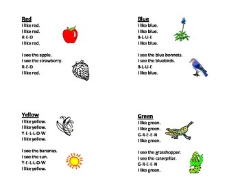Teaching Color Words Mini Book