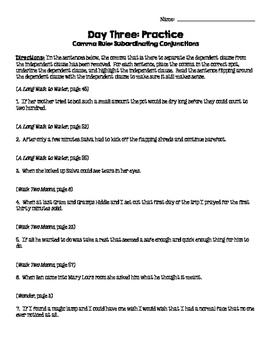 Teaching Commas Through Mentor Sentences: Subordinating Conjunctions