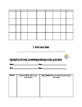 Common Core Fluency/Comprehension Graphic Organizers for Struggling Readers