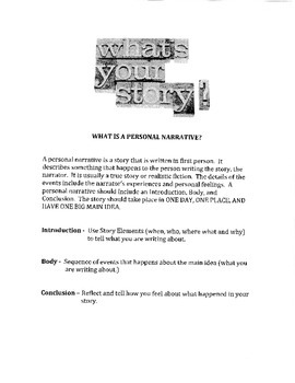 Teaching Components of a Personal Narrative