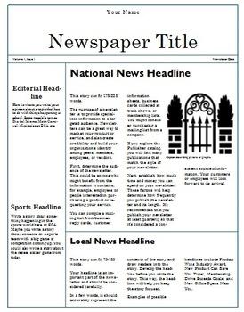 Teaching Computer Publisher Newspaper Template