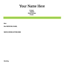 Teaching Cover Letter and Resume Template