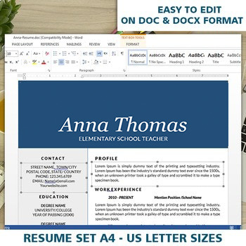 Teaching Resume and Cover Letter Template, Elementary CV Editable Download