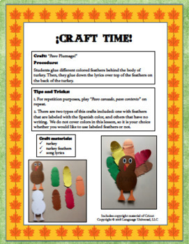 ¡Teaching Descriptive Adjectives Vocabulary in Spanish (Thanksgiving Themed)!