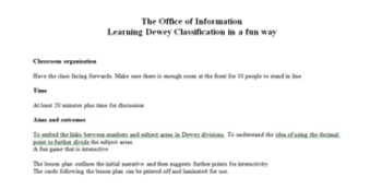 Teaching Dewey Classification Game : Office of Information