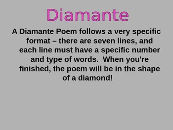 Teaching Diamente Poems Power Point