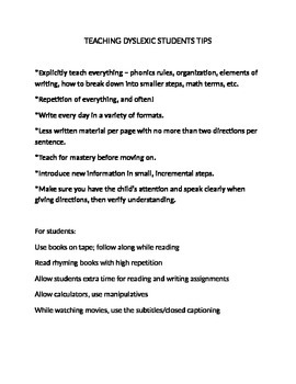 Teaching Dyslexic Students Tips and Strategies