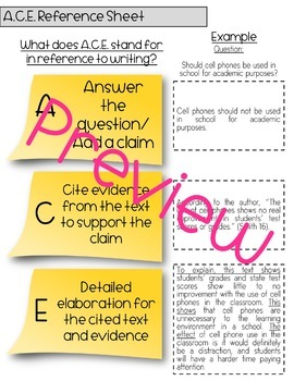 Teaching Elaboration, ACE Writing Strategy, Worksheets