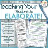 Teaching Elaboration, Writing, Bookmark, Reference Sheet