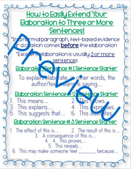 Teaching Elaboration, Writing, Bookmark, Reference Sheet