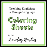 Teaching English as a Foreign Language Kids Coloring Sheets Set