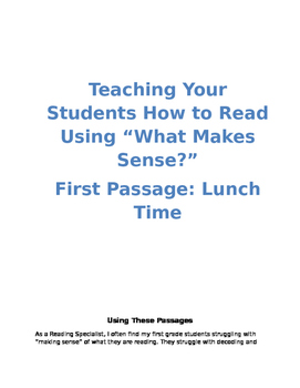 """Teaching First Graders How to Read Using """"What Makes Sense?"""""""