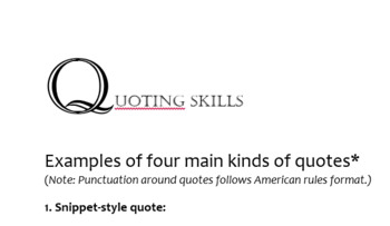 Four Main Ways to Quote