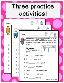 """Teaching """"Have"""" and """"Has"""" with Colors"""