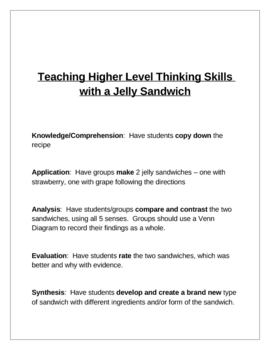 Teaching Higher Level Thinking Skills