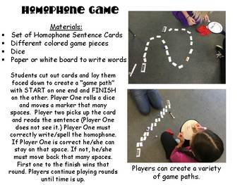 Teaching Homophones: Words, Game Cards, Assessments, and More