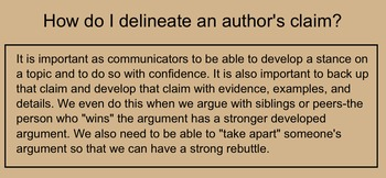 Teaching How to Trace and Delineate an Author's Claim