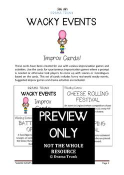 Teaching Improvisation Resource : WACKY EVENTS improv cards and improv exercises