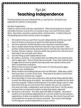 Teaching Independent Work Skills
