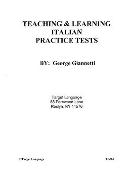 Teaching & Learning - Italian Practice Tests, Grades 6-12