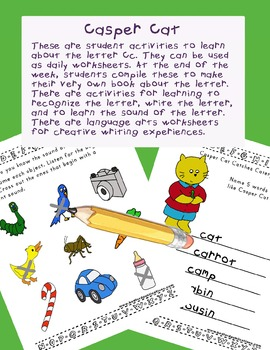 Teaching Letter C.....daily individual worksheets and activities