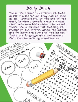 Teaching Letter D.....daily individual worksheets and activities
