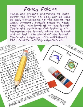 Teaching Letter F.....daily individual worksheets and activities