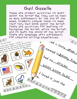 Teaching Letter G.....daily individual worksheets and activities