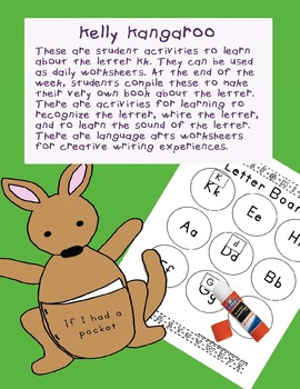 Teaching Letter K.....daily individual worksheets and activities