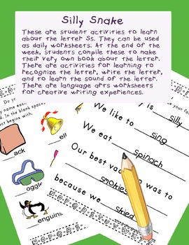 Teaching Letter S.....daily individual worksheets and activities