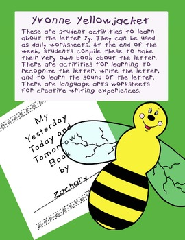 Teaching Letter Y.....daily individual worksheets and activities