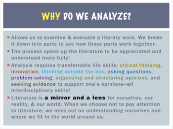 Teaching Literary Analysis: PPT & Notes