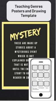 Teaching Literary Genres with Posters (9 genres) drawings on an iphone template!
