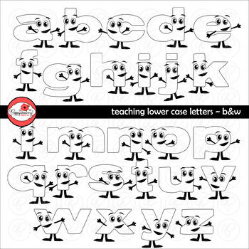 Teaching Lower Case Letters (Black & White) Clipart by Poppydreamz