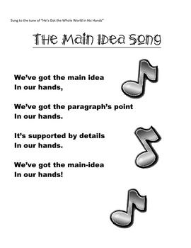 Teaching Main Idea- Main Idea Song and Hand Graphic Organizer