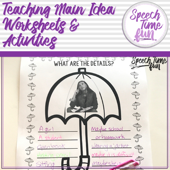 Teaching Main Idea Worksheets and Activities by Speech Time Fun | TpT