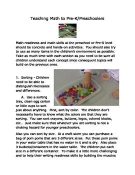 Teaching Math to Pre-K/Preschool