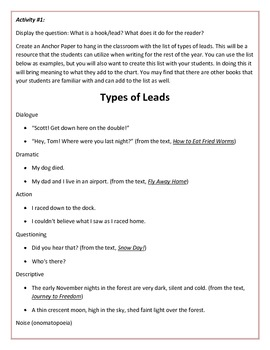 Teaching Narrative Writing Using Hooks and Leads in Mentor Texts