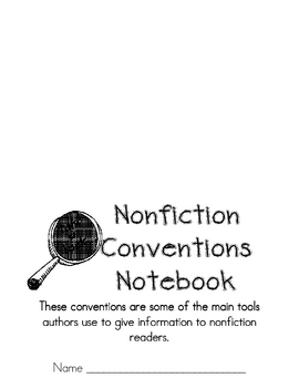 Teaching Nonfiction Conventions Test!  Notebook Cover Too!