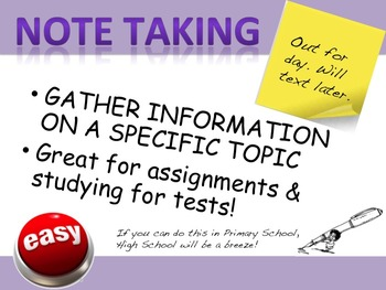 Teaching Note Taking and Scanning for Important Information