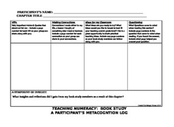 Teaching Numeracy Book Study Metacognition Log
